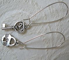 Lock and Key Earrings are BAAAAACK! $7.00. Etsy shop is open again, back from vacation. :)