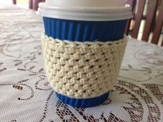 Handmade 100% Cotton Crochet Coffee To Go Cup Mug Sleeve Cozy