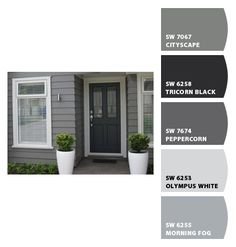 grey exterior house colors Paint colors from ColorSnap by Sherwin-Williams Exterior Color Schemes, Grey Exterior, Exterior Paint Colors For House, Paint Colors For Home, Exterior Paint Color Combinations, Paint Colours, Home Exterior Makeover, Exterior Remodel, Outdoor Paint Colors