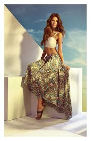 Long floral skirts and crop tops !