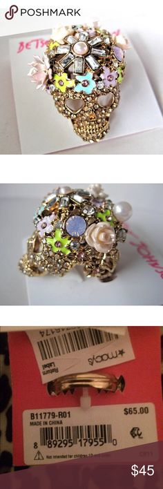 Betsey Johnson Floral Pave Skull Ring This is Brand New still in Macy's Box! & a Beautiful piece!! Betsey Johnson Jewelry Rings