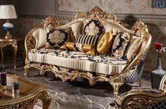 Sofa Mewah Ukir - Furniture Jepara - Furniture Jepara Rococo Furniture, Royal Furniture, Classic Furniture, Dressing Design, Queen Canopy Bed, Decoration Shabby, Sofa Bed Design, Victorian Sofa, Luxury Italian Furniture