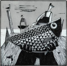 """Gus"" by David Witbeck. 14""x14"" Woodcut.  Available at Maine Art Paintings & Sculpture."
