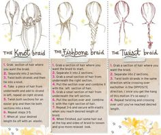 knot braid, fishbone braid, twist braid