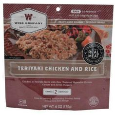 WISE COMPANY Camp Food, Teriyaki Chicken & Rice, 2-Serving Pouch