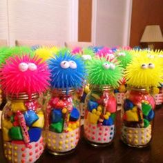 Willy Wonka Party : Favors : Neon marshmallows, buttons, old school candy with toys on the top of Mason jars! Monster Birthday Parties, Birthday Party Favors, Candy Party Favors, Birthday Ideas, Birthday Gifts, Diy Birthday, Skating Party Favors, Candy Land Party, Neon Birthday Cakes