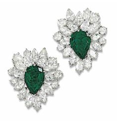 VAN CLEEF & ARPELS | EMERALD AND DIAMOND EARRINGS (Christie's)