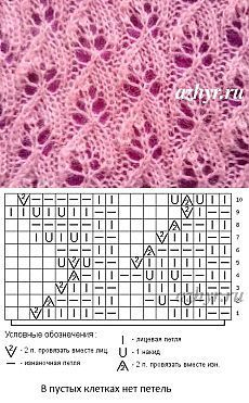 № 38 Ажур из мохера - узор спицами - схема   Ажур