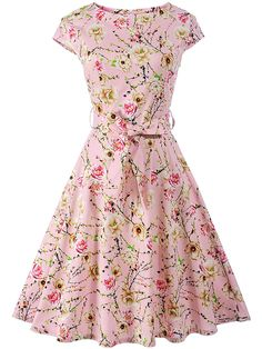 Buy Delightful Round Neck Bowknot Floral Skater Dress online with cheap prices and discover fashion Skater Dresses at Fashionmia.com.