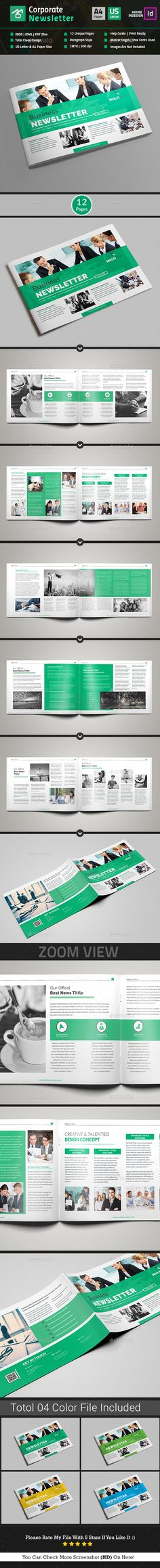 4-Pages Newsletter Template Newsletter templates, Template and - company newsletter