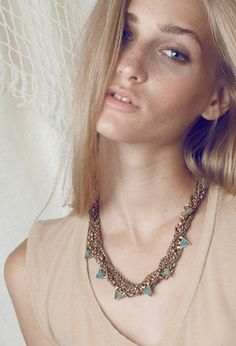 Lookbook shot of the Sabratha Gold necklace by A Peace Treaty.