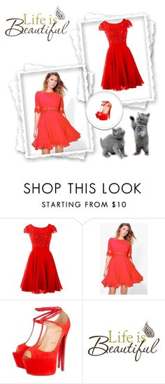 """""""red"""" by elyley ❤ liked on Polyvore featuring Boohoo, Christian Louboutin and Brewster Home Fashions"""