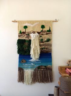 "Unique fiber art wall tapestry ""The waterfalls"" ~ wall hanging ~ handmade wall hanging ~ unique boho wall tapestry art ~ unique fiber art"