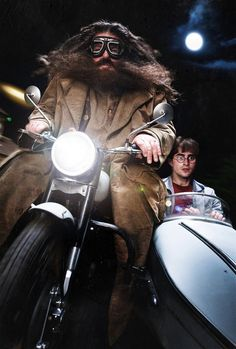 Hagrid and Harry Potter, movie, motorcycle, wheels, cool, photo