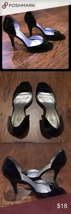 Jessica Simpson Black Patent Shoes Jessica Simpson Black Patent Shoes. Size 8. Padding was added to the back part of the shoe which goes against the heel. I think the brand of the padding is foot petals. I showed this in the last picture. Shoes Heels