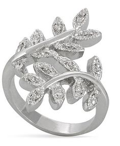 City by City Ring, Silver Tone Cubic Zirconia Leaf Ring (2 ct. t.w.)