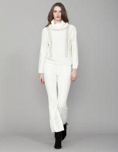 Pantalón campana | Blanco