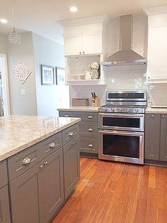 Cambria quartz Berwyn, two tone Kitchen, gray and white kitchen, quartz countertop