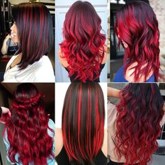 Red Hair Streaks, Red Balayage Hair, Red Hair With Highlights, Hair Color For Black Hair, Cool Hair Color, Red Colored Hair, Red Black Hair, Colored Hair Extensions, Synthetic Hair Extensions