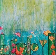 Trying my water colors again on these fish cocktails Zen Doodle, Foto E Video, Color Inspiration, Coloring Books, Paradise, Cocktails, Fairy, Mermaids, Watercolor