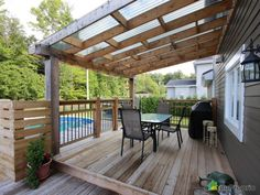 Patio dream to see in trois-rivières. Dream Patio, Modern Backyard, House With Porch, Backyard Inspiration, Patio Design, Diy Patio, House Paint Exterior, Outdoor Grill Station, Manufactured Home Porch
