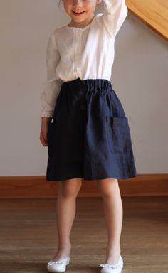 Summer navy skirt girls linen special occasion school by Maliposhaclothes on Etsy