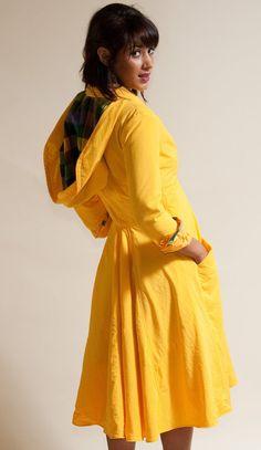Seaside Raincoat  Available in Yellow Black by LizzBasingerDesigns, $375.00  I love dressy coats.