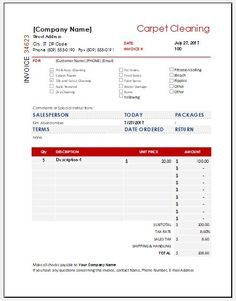 How To Create An Invoice Template In Excel MS EXCEL Pinterest - Carpet cleaning invoice template