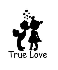 True Love Boy and Girl Kissing  Vinyl Decal  - Custom Date - Select Color #WrenGifts