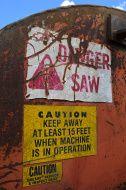 Warning Label on Log Cutoff Slasher Saw