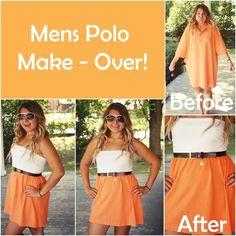 Mens polo make over Diy Tumblr, Remake Clothes, Sewing Clothes, Shirt Refashion, T Shirt Diy, Diy Fashion, Vintage Fashion, Fashion Design, Tumblr Shirt