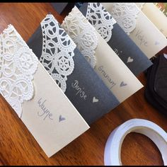 DIY place cards - maybe do the paper in a dusty rose color or tea stain. Wedding Places, Our Wedding, Wedding Tables, Wedding Name Cards, Diy Wedding Place Cards, Wedding Stuff, Wedding Flowers, Wedding Stationery, Wedding Invitations