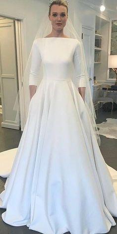 Modest Si Miantan Bateau Neckline A-line Wedding Dress With Pockets