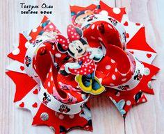 Minnie Mouse Hair Bow -Minnie Hair Bow- Minnie Mouse stacked bow -Minnie OTT Bow - Minnie Mouse Party-Minnie Birthday- Red Polka Dot Bow by TretyakOlgaBows on Etsy