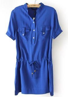 #sheinside Blue Short Sleeve Drawstring Pockets Chiffon Dress - Sheinside.com