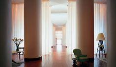 Lobby at the Delano Hotel, Miami Beach  SO love this corridor...real Miami