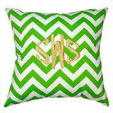 Chevron Green Monogrammed Throw Pillow | Three Hip Chicks