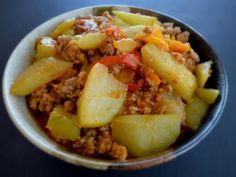 BRAISED CHAYOTE with GROUND PORK ~ This recipe comes from the Philippines, my homeland. My mother used to make this dish for us when we were growing up.  Chayote is a gourd plant, similar to the summer squash. Chayote is also popular in Indian and Latin American cuisines. Chayote is very low in calories (25 calories per cup) and chock-full of vitamins and other nutrients. Chayote is also called vegetable pear, alligator pear or mango squash.