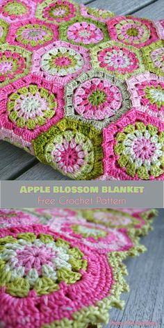 Apple Blossom Hexagon Blanket Free Crochet Pattern #freecrochetpatterns #crochetblanket