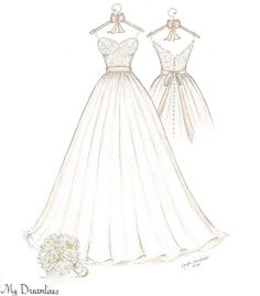 Wedding dress sketch and suit sketch framed and given as a wedding gift from the…