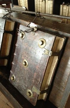 European Chained libraries. Starting in the 1500's, books in libraries were chained in such a way that they could be read, but not removed.