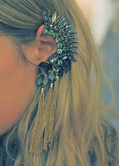 Bejewelled and Embellished Dragon Scale Ear Cuff