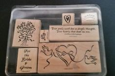 Stampin Up - HEART & SOUL - 6 rubber stamps Wedding Bride Groom phrases