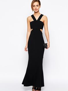 Black Strappy Off-the-Shoulder Slim Party Dress - Lalalilo.com Shopping - The Best Deals on Party Dresses