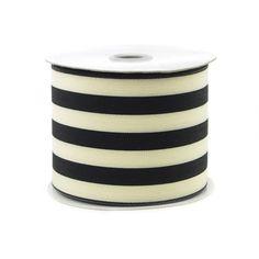 Striped Cotton Ivory Ribbon, 2-1/2-inch, 10-yard, Black