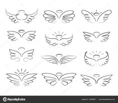 Vector sketch angel wings in cartoon style isolated on white background. Cartoon wings element line illustration Vector sketch angel wings in cartoon style isolated on white background. Cartoon wings element line illustration Mini Tattoos, Baby Tattoos, Little Tattoos, Cute Tattoos, Body Art Tattoos, Tatoos, Sleeve Tattoos, Small Wing Tattoos, Wing Tattoos On Wrist