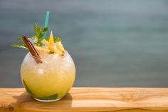 """Next time you are with us try the """"Mojito Vito"""" made of Homemade mix rum, special pineapple juice, mint, lime, brown sugar & cane syrup. Buddha, After Dinner Drinks, Executive Chef, Signature Cocktail, Pineapple Juice, Mojito, Mykonos, Syrup, Brown Sugar"""