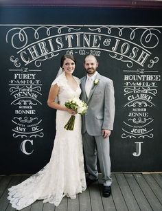 This amazing 8 x 8 chalkboards is a fabulous backdrop and is customized to your specifications