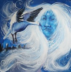 Callieach as creatrix making the universe even before the other gods. [Cailleach Biera by Dronma] Sacred Feminine, Divine Feminine, Howl At The Moon, Celtic Mythology, Celtic Tree, Mother Goddess, Goddess Art, India, Snow Queen
