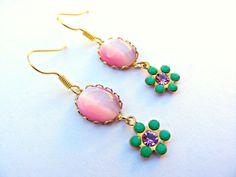Pink Valentines Earrings Vintage Pink Dangle by Sweetystuff, £15.00